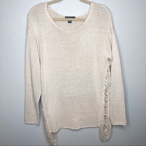 Forever 21 Plus Cream Colored Fringe Side Sweater